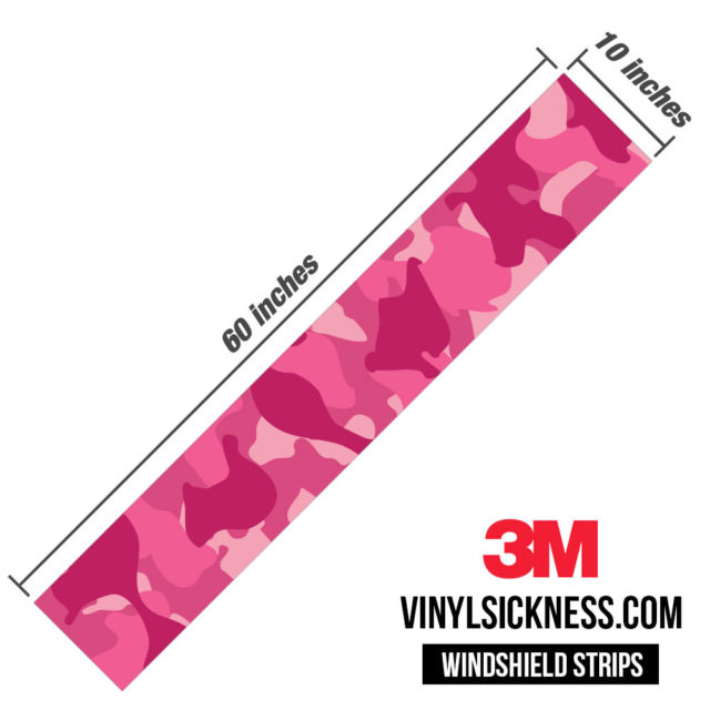 Jdm Premium Windshield Strip Banner Camo Candy Pink Dimensions