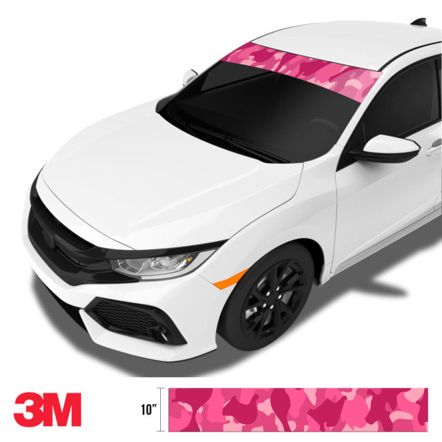 Jdm Premium Windshield Strip Banner Camo Candy Pink Side