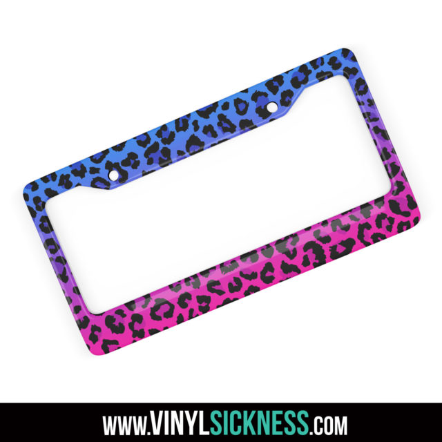 Jdm Tuner Leopard Skin Purple Fade License Frame
